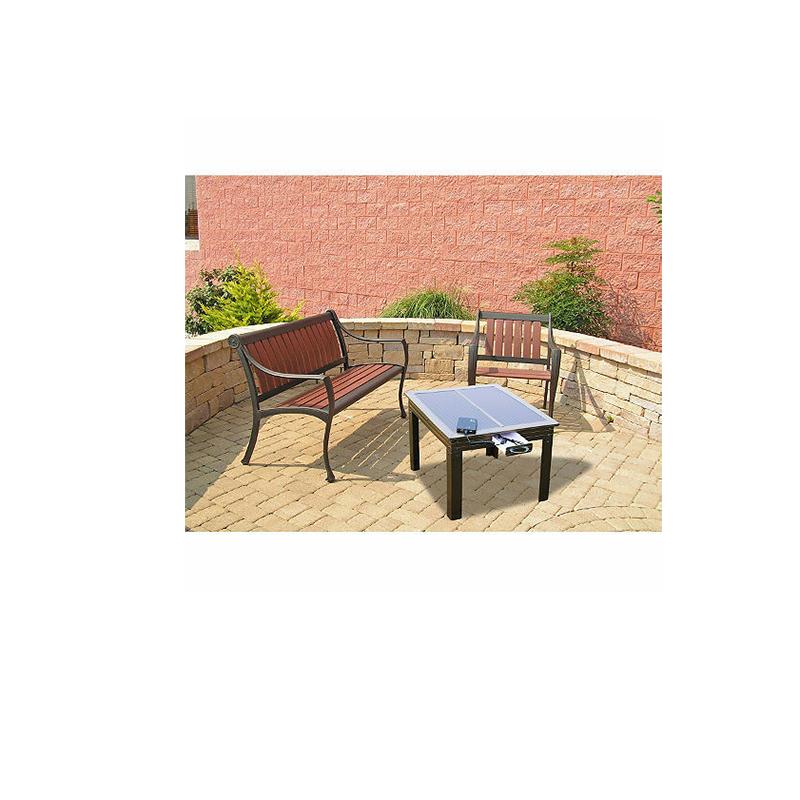 Table de patio à énergie solaire en bronze avec Powerbank 5 - Charge les appareils portables