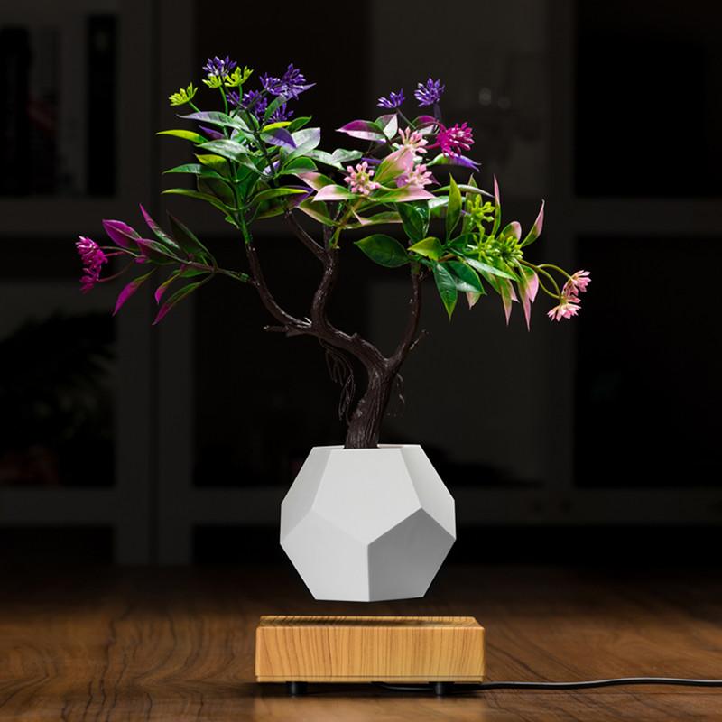 NOUVEAU pot à planter PA-0708 de bonsaï en suspension dans l'air magnétique en bois avec flottation magnétique