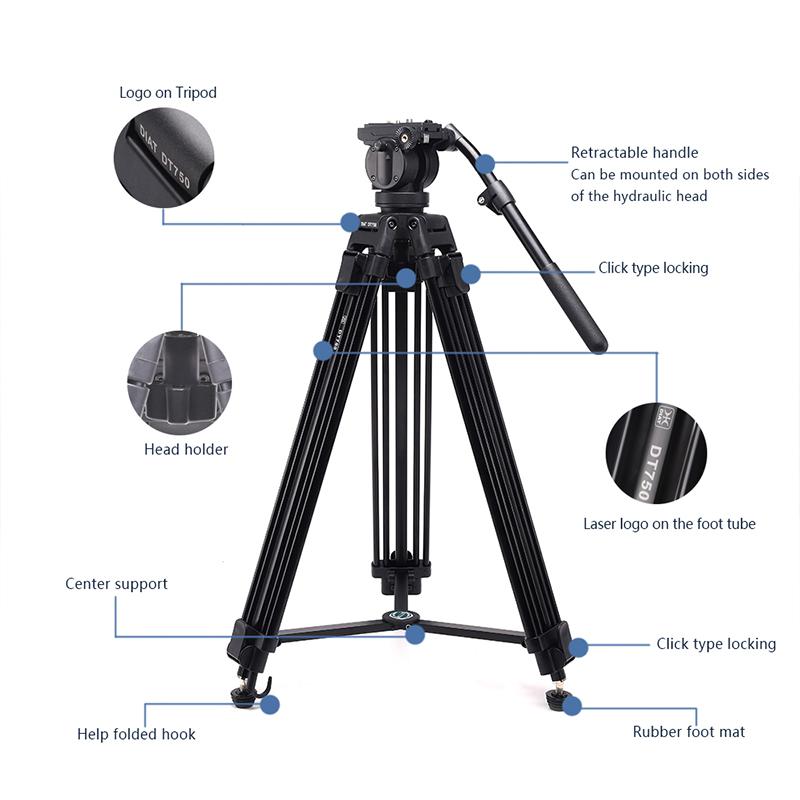 DIAT nouveau DT750 support de caméra vidéo trépied trois sections 1.7mètres de haut DSLR trépied robuste