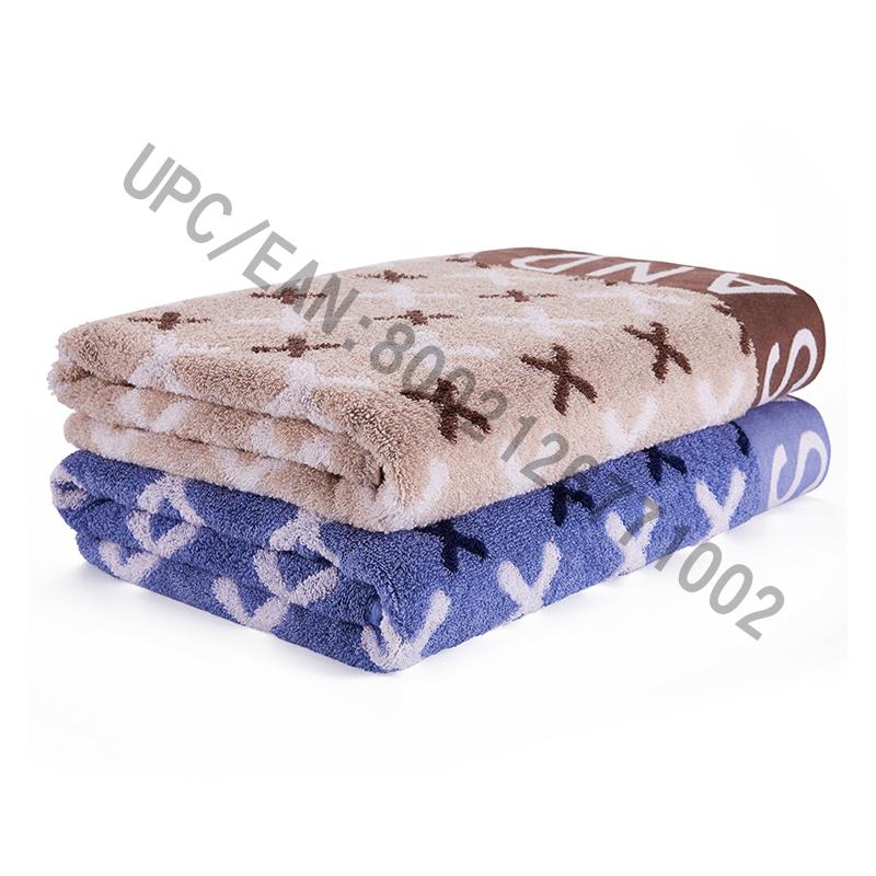 Ensemble de serviettes de bain JMD TEXTILE, serviette en jacquard de style britannique, 4 grandes serviettes de bain 100% coton, convient à la piscine, au gymnase, aux hôtels, aux voyages, aux accessoires du dortoir universitaire, brun et bleu (bleu-rouge, 4)