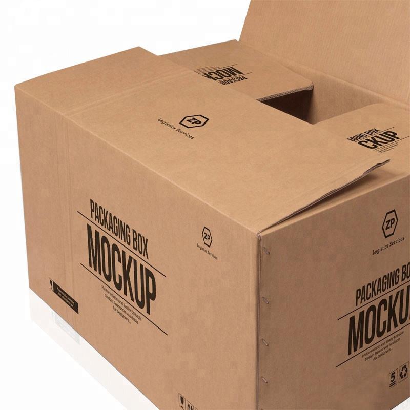 Vente chaude personnalisé grand 5 couches logo marque imprimé papier kraft expédition de livraison grande boîte de carton