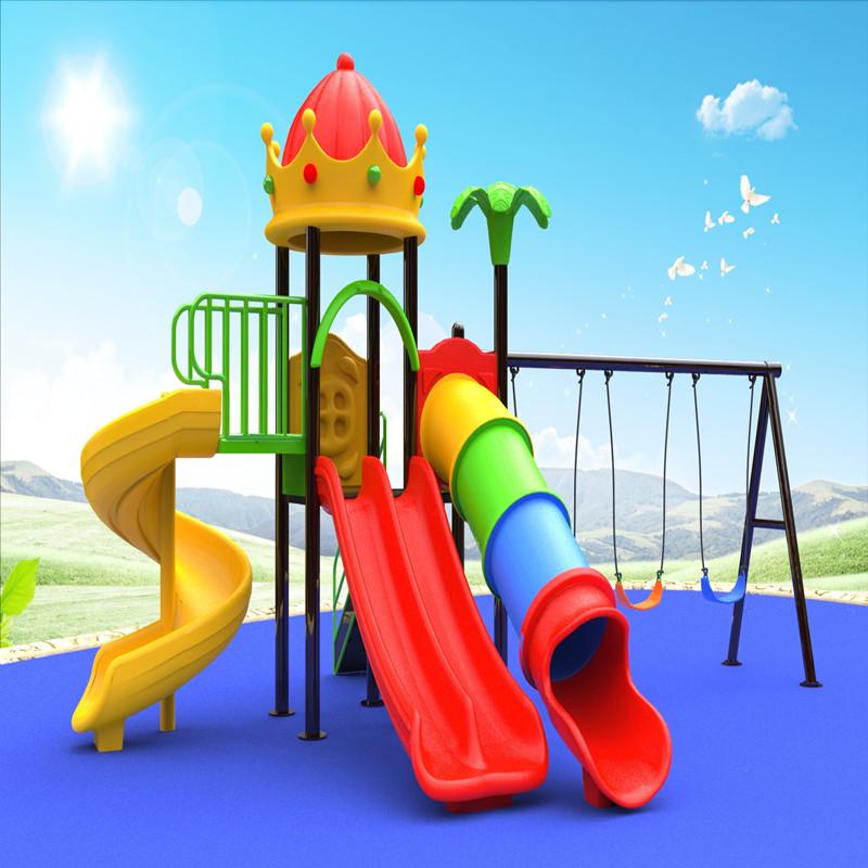 équipement extérieur de cour de jeu de toit de couronne de couronne avec des enfants balançoire glissent le jeu pour des enfants