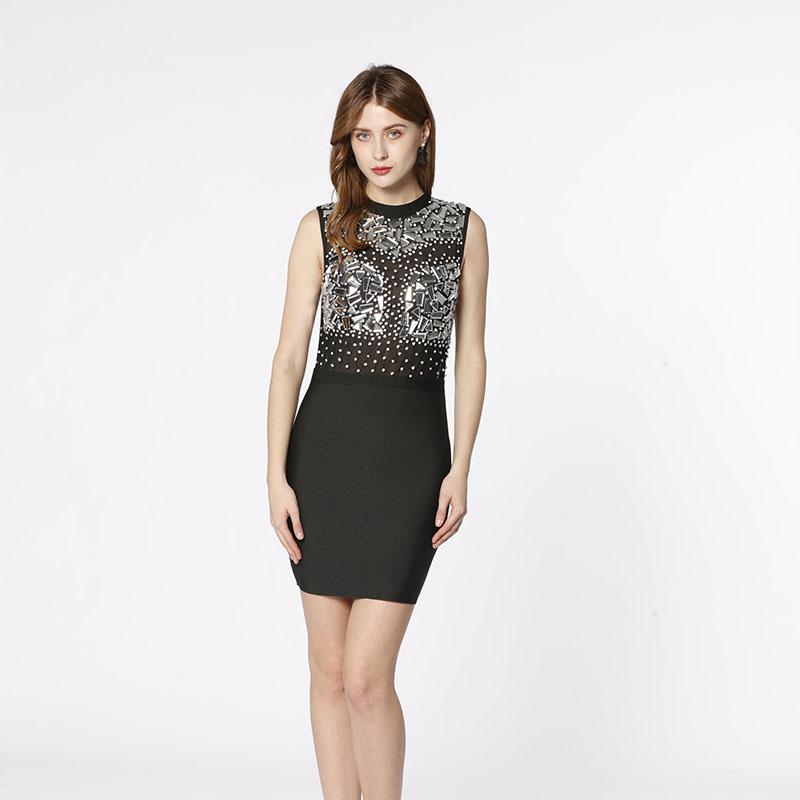 OEM usine noir maille voir à travers la main perlé cristal diamant sexy élégant moulante bandage robe pour soirée