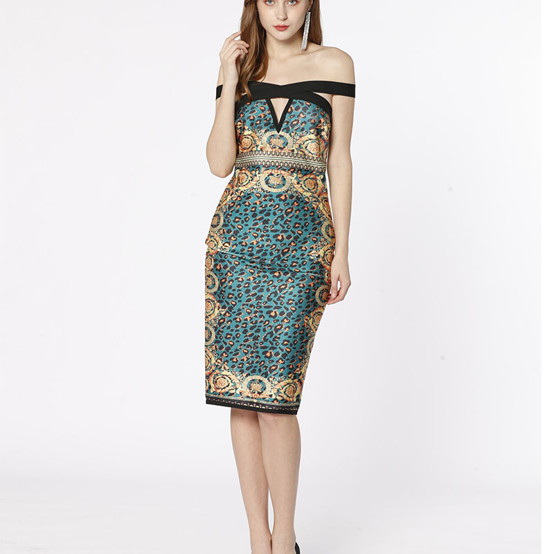 Green Creek shoulder animal Printed panthère Female Party sexy bandage dress