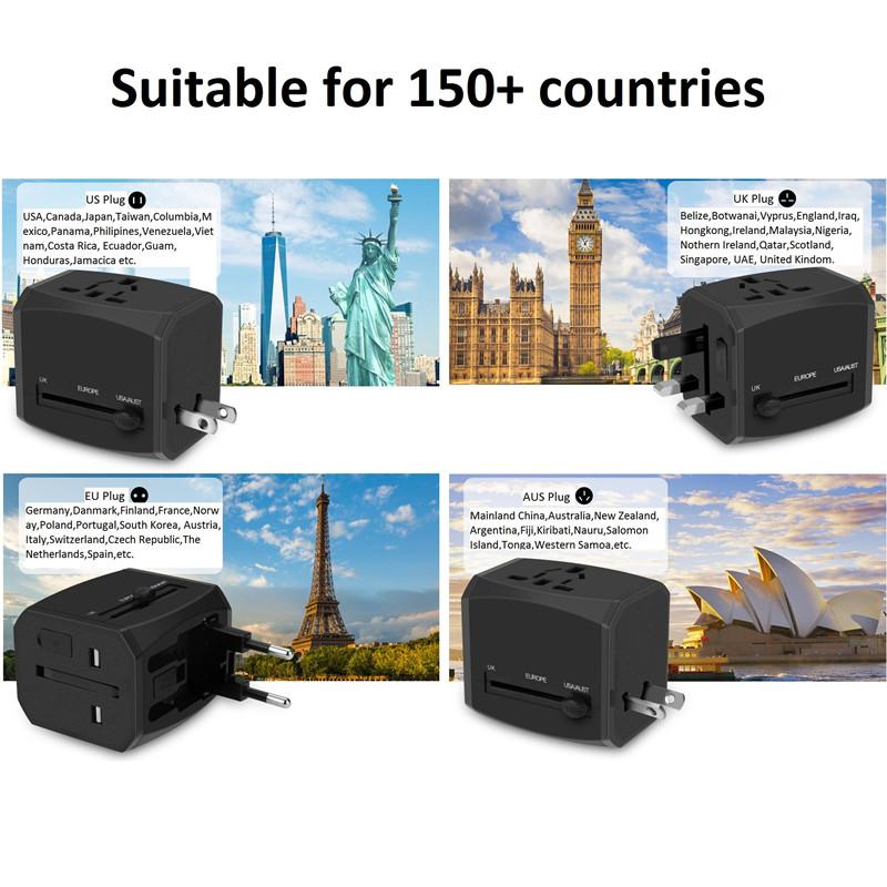 RRTRAVEL nouvel adaptateur de voyage universel personnalisé pour le monde intelligent avec prise d'alimentation chargeur rapide USB pour le Royaume-Uni européen, les États-Unis et l'Australie