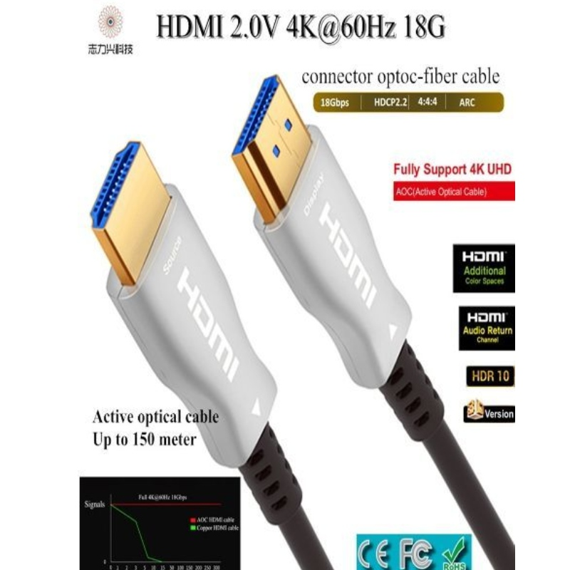 Câble HDMI haute vitesse 60M \/ 197ft 2.0v 18G 4K @ 60hz Câble audio et vidéo 3D ACR, HDMI AOC